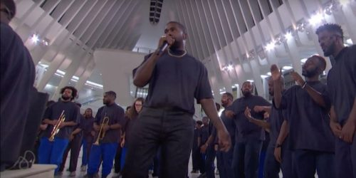 "Watch Kanye Do ""Closed on Sunday"" in NYC's Oculus on Kimmel"