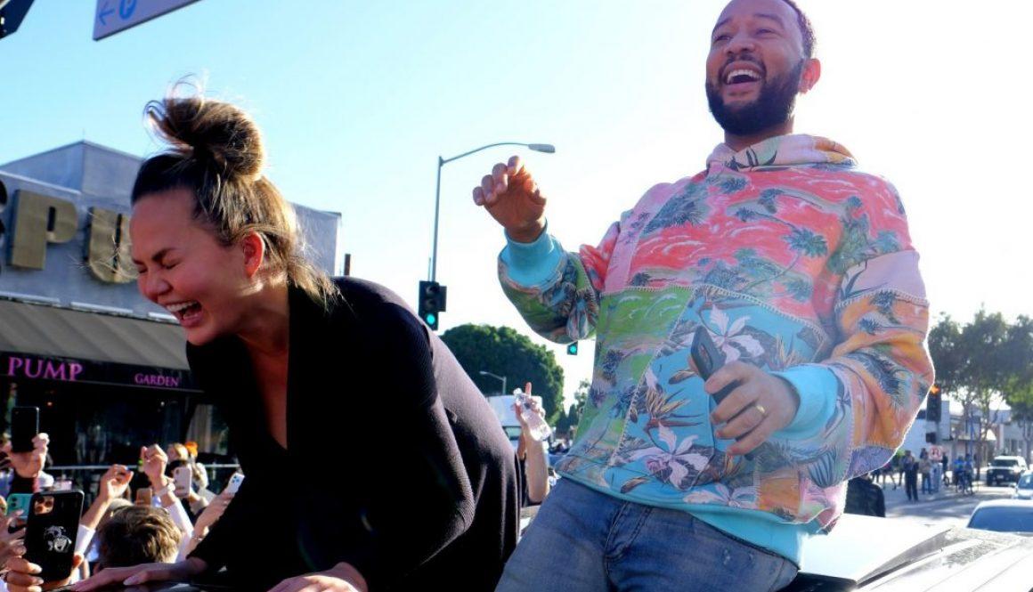 John Legend & Chrissy Teigen Celebrate Joe Biden's Win With Crowd in Hollywood