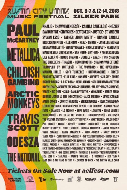 Austin City Limits 2018 Lineup: Paul McCartney, Childish Gambino, Arctic Monkeys, More