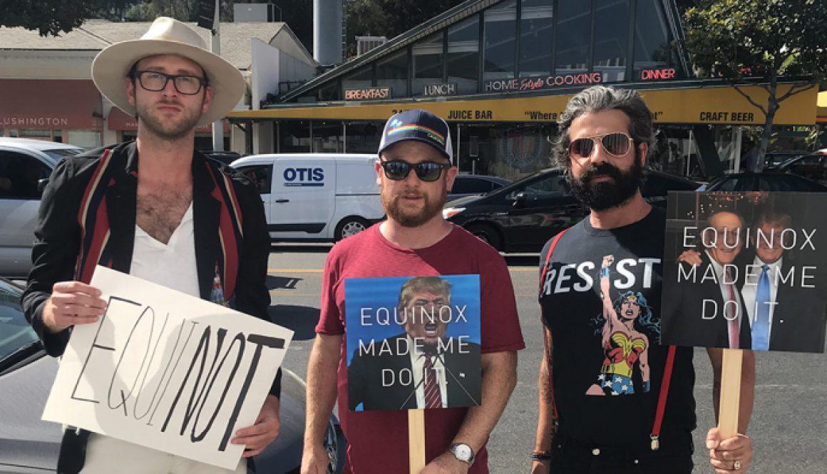 Protesters Chant 'Trump Has No Soul' at West Hollywood Equinox
