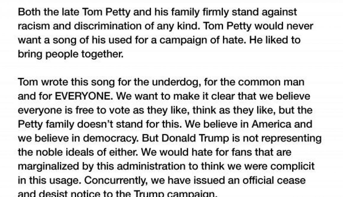 Tom Petty Family Members Unite to Denounce Trump for Using 'I Won't Back Down' at Rally