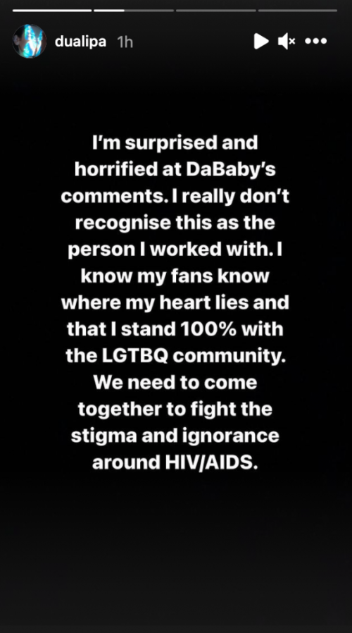 Dua Lipa Says She's 'Surprised and Horrified' by DaBaby's Homophobic Remarks